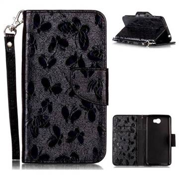 Luxury Laser Butterfly Optical Maser Leather Wallet Case for Huawei Y5II Y5 2 Honor5 Honor Play 5 - Black