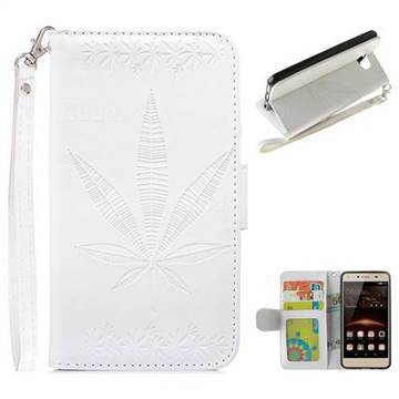 Intricate Embossing Maple Leather Wallet Case for Huawei Y5II Y5 2 Honor5 Honor Play 5 - White