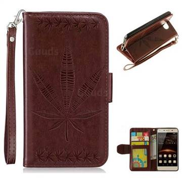 Intricate Embossing Maple Leather Wallet Case for Huawei Y5II Y5 2 Honor5 Honor Play 5 - Brown