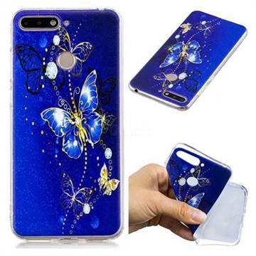Gold and Blue Butterfly Super Clear Soft TPU Back Cover for Huawei Y6 (2018)