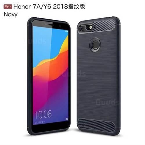 Cas Du Carbone En Silicone Noir Pour Huawei Y 6 (2018) 7SS7DoGA