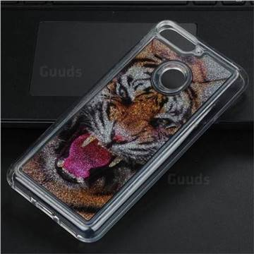 Tiger Glassy Glitter Quicksand Dynamic Liquid Soft Phone Case for Huawei Y6 (2018)