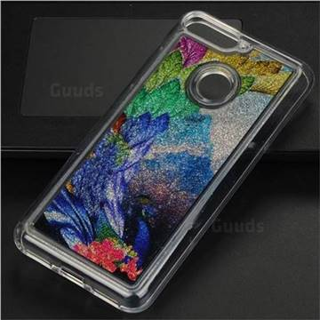 Phoenix Glassy Glitter Quicksand Dynamic Liquid Soft Phone Case for Huawei Y6 (2018)