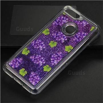 Purple Grape Glassy Glitter Quicksand Dynamic Liquid Soft Phone Case for Huawei Y6 (2018)