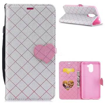 Symphony Checkered Dual Color PU Heart Leather Wallet Case for Huawei Y7 - Gray