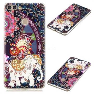 Totem Flower Elephant Super Clear Soft TPU Back Cover for Huawei Y9 (2018)