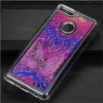 Blue and White Glassy Glitter Quicksand Dynamic Liquid Soft Phone Case for Huawei Y9 (2018)