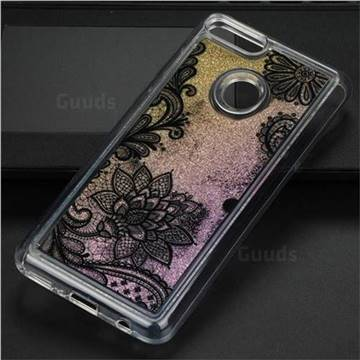 Diagonal Lace Glassy Glitter Quicksand Dynamic Liquid Soft Phone Case for Huawei Y9 (2018)