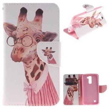Pink Giraffe PU Leather Wallet Case for LG K10 K420N K430DS K430DSF K430DSY