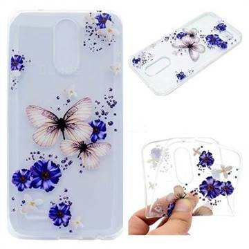 Blue Butterfly Flowers Super Clear Soft TPU Back Cover for LG K10 2017