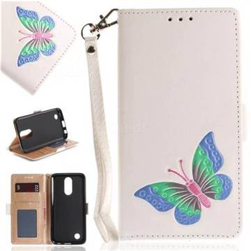 Imprint Embossing Butterfly Leather Wallet Case for LG K10 2017 - White