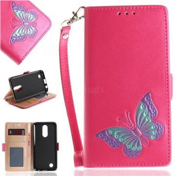 Imprint Embossing Butterfly Leather Wallet Case for LG K10 2017 - Rose Red