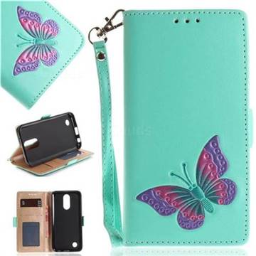 Imprint Embossing Butterfly Leather Wallet Case for LG K10 2017 - Mint Green
