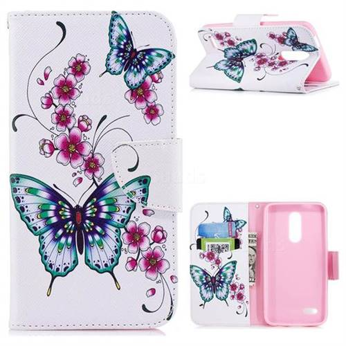Peach Butterfly Leather Wallet Case for LG K10 (2018)