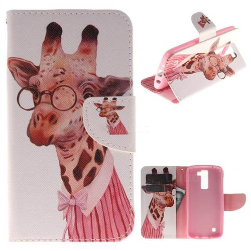 Pink Giraffe PU Leather Wallet Case for LG K8