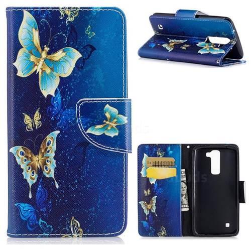 Golden Butterflies Leather Wallet Case for LG K8