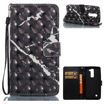 Black Marble 3D Painted Leather Wallet Case for LG K8
