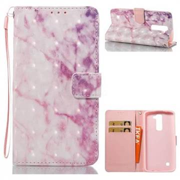 Pink Marble 3D Painted Leather Wallet Case for LG K8