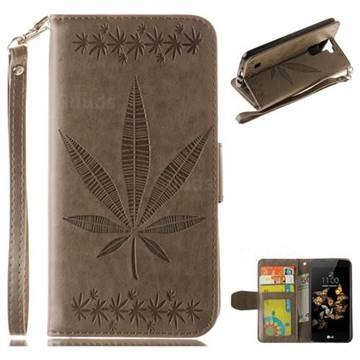 Intricate Embossing Maple Leather Wallet Case for LG K8 - Gray