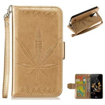 Intricate Embossing Maple Leather Wallet Case for LG K8 - Champagne
