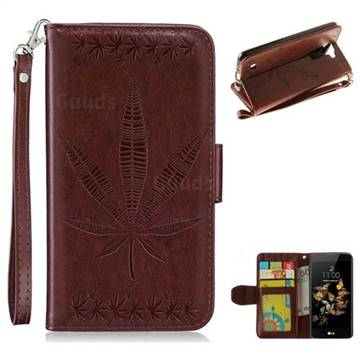 Intricate Embossing Maple Leather Wallet Case for LG K8 - Brown