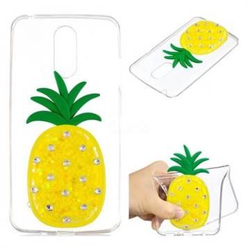 Yellow Pineapple Liquid Quicksand Soft 3D Cartoon Case for LG K8 2017 M200N EU Version (5.0 inch)