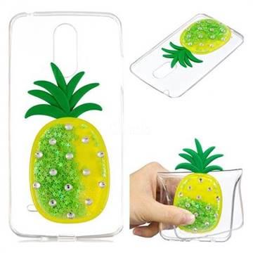Green Pineapple Liquid Quicksand Soft 3D Cartoon Case for LG K8 2017 M200N EU Version (5.0 inch)
