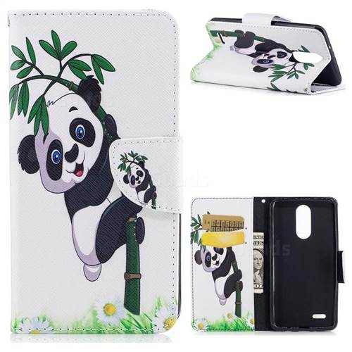 Bamboo Panda Leather Wallet Case for LG K8 2017 M200N EU Version (5.0 inch)