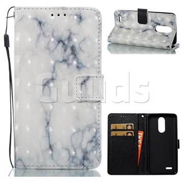 White Gray Marble 3D Painted Leather Wallet Case for LG K8 2017
