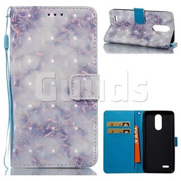 Green Gray Marble 3D Painted Leather Wallet Case for LG K8 2017