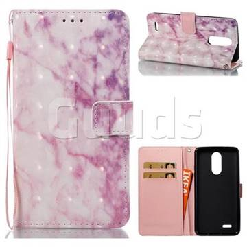 Pink Marble 3D Painted Leather Wallet Case for LG K8 2017