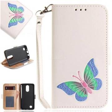 Imprint Embossing Butterfly Leather Wallet Case for LG K8 2017 US215 American version LV3 MS210 - White