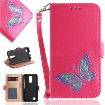 Imprint Embossing Butterfly Leather Wallet Case for LG K8 2017 US215 American version LV3 MS210 - Rose Red