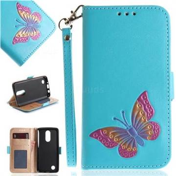 Imprint Embossing Butterfly Leather Wallet Case for LG K8 2017 US215 American version LV3 MS210 - Sky Blue
