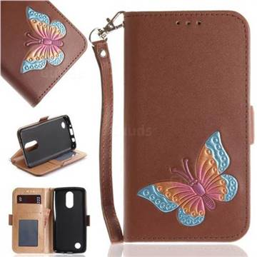 Imprint Embossing Butterfly Leather Wallet Case for LG K8 2017 US215 American version LV3 MS210 - Brown