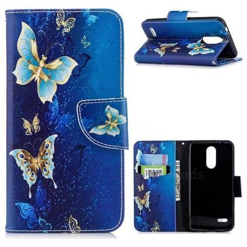 Golden Butterflies Leather Wallet Case for LG K8 (2018)