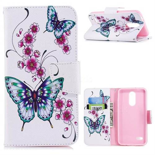 Peach Butterfly Leather Wallet Case for LG K8 (2018)