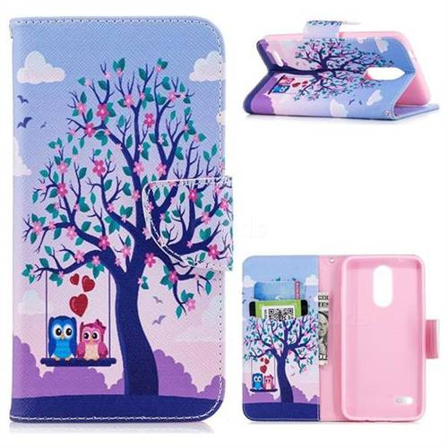 Tree and Owls Leather Wallet Case for LG K8 (2018)