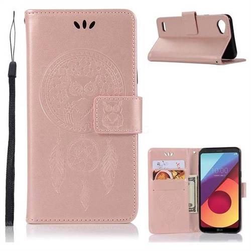 Intricate Embossing Owl Campanula Leather Wallet Case for LG Q6 (LG G6 Mini) - Rose Gold
