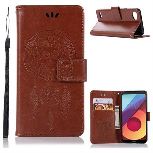 Intricate Embossing Owl Campanula Leather Wallet Case for LG Q6 (LG G6 Mini) - Brown