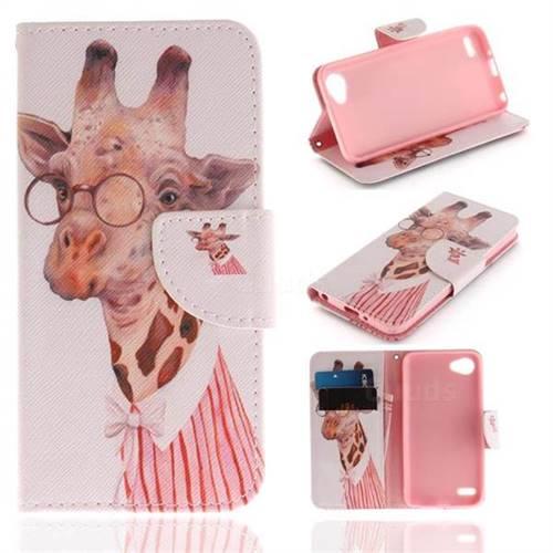 Pink Giraffe PU Leather Wallet Case for LG Q6 (LG G6 Mini)
