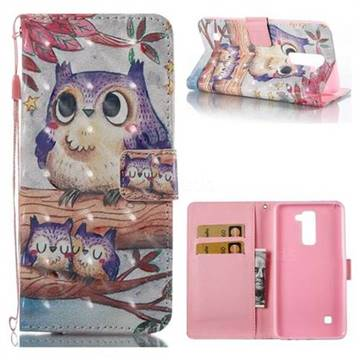 Purple Owl 3D Painted Leather Wallet Case for LG Stylo 2 LS775 Criket