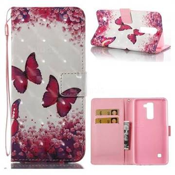 Rose Butterfly 3D Painted Leather Wallet Case for LG Stylo 2 LS775 Criket