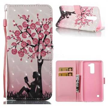 Plum Girl 3D Painted Leather Wallet Case for LG Stylo 2 LS775 Criket