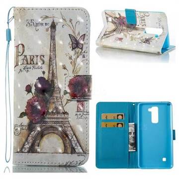 Flower Eiffel Tower 3D Painted Leather Wallet Case for LG Stylo 2 LS775 Criket