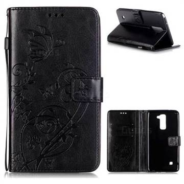 Embossing Butterfly Flower Leather Wallet Case for LG Stylo 2 LS775 Criket - Black