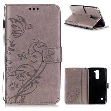 Embossing Butterfly Flower Leather Wallet Case for LG Stylo 2 LS775 Criket - Grey