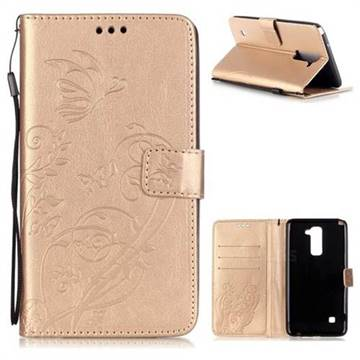 Embossing Butterfly Flower Leather Wallet Case for LG Stylo 2 LS775 Criket - Champagne