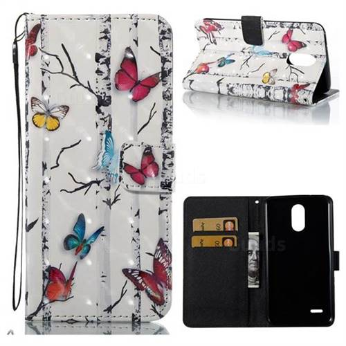 Colored Butterflies 3D Painted Leather Wallet Case for LG Stylus 3 Stylo3 K10 Pro LS777 M400DK