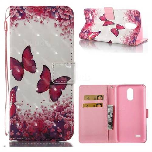 Rose Butterfly 3D Painted Leather Wallet Case for LG Stylus 3 Stylo3 K10 Pro LS777 M400DK